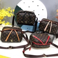"""Louis Vuitton"" Fashion Multicolor Classic Retro Logo Print Women Lock Handbag Single Shoulder Messenger Bag"