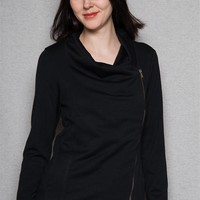 Color Swatch Draped Side-Zip Jacket With High-Low Hem - Black