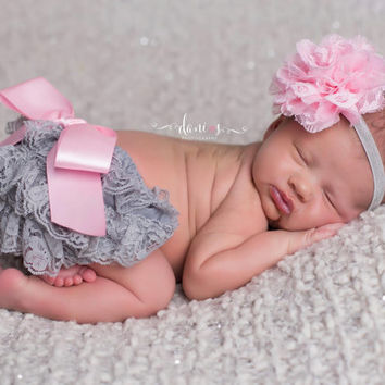Grey and Pink Ruffled Lace Diaper Cover,Lace Bloomer Set and Matching Newborn Headband,Newborn Photo Outfit, Smash Cake Outfit
