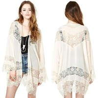 Hot Sale Lace Hollow Out Patchwork Chiffon Scarf Jacket [8096398407]