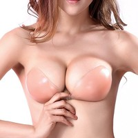 Miss Moly Women's Pink Self Adhesive Push Up Strapless Lace Up Bikini Bra Reusable Invisible Silicone Deep V Top Backless Bras
