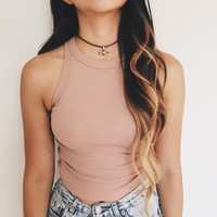 Luna Knit Basic Crop Top (Rose) | ootdfash