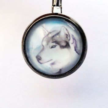 Unique Husky Earrings in Aged Silver by SamIamArt