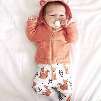 Retail !GOOD NEWS ! Baby Boy Girl Sweatshirts & white printing orange fox pants suit! Autumn Warm baby clothings,children clothes suit.