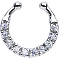 Clear CZ Wreath of Sparkle Non-Pierced Clip On Septum Ring | Body Candy Body Jewelry