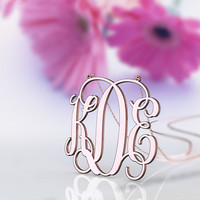 Initial name pendant monogram necklace-1 inch rose plated in  rose gold for birthday present