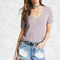 High-Low Slub Knit V-Neck Tee - Women - Tops - 2000321534 - Forever 21 Canada English