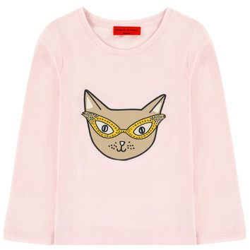 Girls Pink Cat Long-Sleeved T-shirt