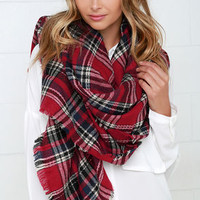 Scots Honor Red Plaid Scarf