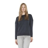Womens Slate Perla Vegan Leather Trim Pullover Long Sleeve Sweater By One Grey Day