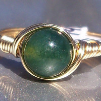 Moss Agate 14k Gold Filled Wire Wrapped Ring