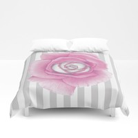 Pink Rose on Stripes Duvet Cover by drawingsbylam