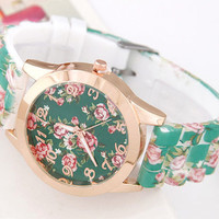 Turquoise Floral Watch
