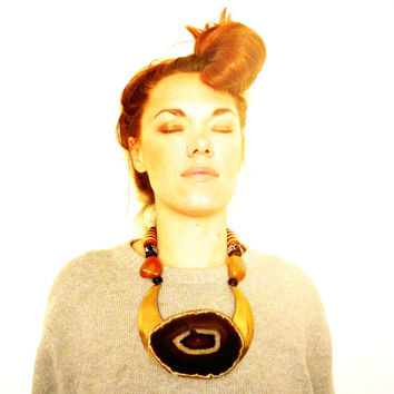 Statement Necklace. Massive Agate Geode And Brass. Bohemian Tribal Jewelry