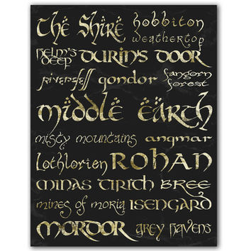 Middle Earth Locations Typography Art - Middle Earth Subway Art - 8.5x11 Lord of the Rings Poster