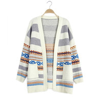 Winter Coat Vintage Geometric Pattern With Pocket Thicken Sweater Jacket [9176521860]
