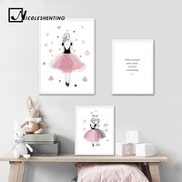Kawaii Baby Girl Nursery Wall Art Canvas Poster Pink Cartoon Prints Painting Nordic Kids Decoration Pictures Girls Bedroom Decor