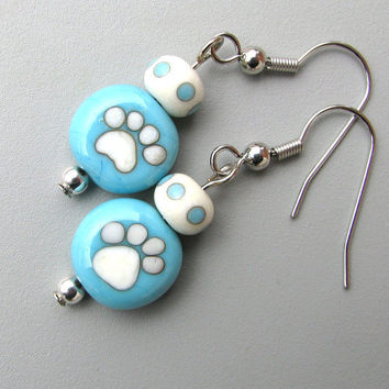 Turquoise Dog Cat Lover Jewelry Paw Print earrings by GemBonz