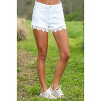 Throw Out The Rules Denim Shorts-White