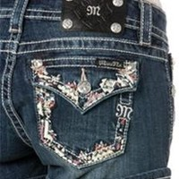 Miss Me Jean Shorts with Leather Trim Pockets JP8288H
