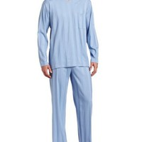 Hanro Men's Turin Long Sleeve Pajama Set, Pearl Blue, Small