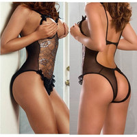 Sexy Lingerie Tops Lace Ladies Open Bras Teddies Sleepwear, Underwear, Uniform Costume (Color: Black) = 1931888452