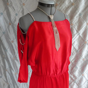 ON SALE 80s Dress :// Vintage 1980s Red Satin Party Dress with Rhinestone Strands on Sleeves by Jon Wesley California Size M