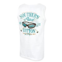 Southern Fried Cotton Salt Water Fly Fishing Tank Top - White