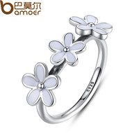 100% 925 Sterling Silver Darling Daisies Stackable Ring for Women Wedding White Enamel Compatible with Pandora Jewelry A7148
