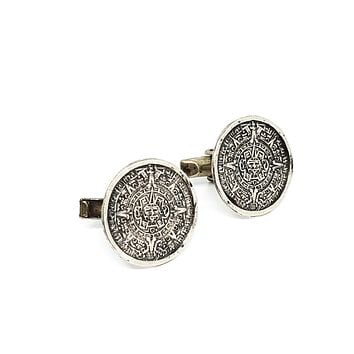 Antique Aztec Calendar RCD made in Mexico sterling silver cufflinks eagle mark