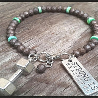 Strong Is Beautiful Bracelet, Fitness Jewelry, Personal Trainer Gifts, Crossfit Jewelry, Fitness Charm Bracelet, Brown And Green Bracelet
