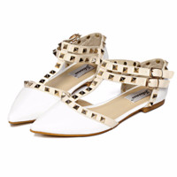 Trendy Rivet Double Ankle Strap Stylish Flats