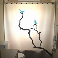 Blue Birds Shower Curtains Tree Branch Nature Lovebirds Bird Bluebird in a tree leaf blossom  Birds Can Be Any Color