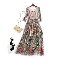 Embroidery Party Dresses Runway Floral Bohemian Flower Embroidered 2 Pieces