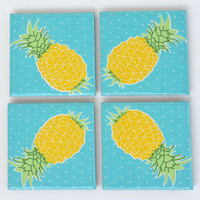 Pineapple Ceramic Coasters Yellow on Turquoise Summer Tropical Fruit Tile Coasters, set of 4