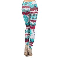 Casual Tie-Dye Tribal Print Stretch Sexy Ankle Legging
