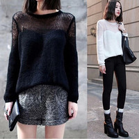 Women Fashion Casual Loose Hollow Out Knitting a Thin Pullovers = 1946141956