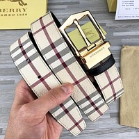 BURBERRY Popular Women Men Plaid Smooth Buckle Belt Leather Belt