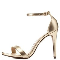 Gold Metallic Ankle Strap Heels by Charlotte Russe