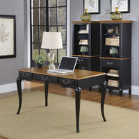 Home Styles Furniture 5519-15 The French Countryside Oak and Rubbed Black Executive Desk