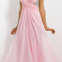 (PRE-ORDER) Blush 2014 Prom Dresses - Crystal Pink Chiffon Open Back Prom Gown