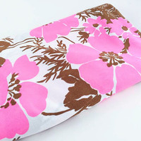 Vintage Flower Fabric Pink Flower Fabric Pink Polyester Fabric Pink Brown Flower Fabric Tropical Floral Fabric Quilting Sewing Craft