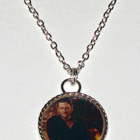 "Blake Shelton (Or Your Choice Photo) Silver Tone Pendant Style Necklace-1"" Wide Photo"