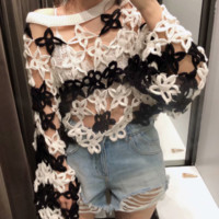 Autumn flower crochet women's sweater