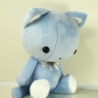 Cute Bellzi Stuffed Animal Blue w/ White Contrast Cat Plushie Doll - Kitti