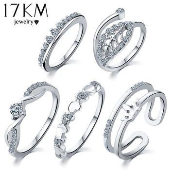 17KM 5 pcs/Set Silver Color Heart Ring Set Brand Crown Crystal Ring anillos anel Engagement midi Rings for Women anillo Dropship