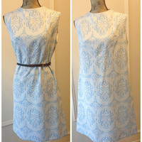 1960s Vintage Tapestry Shift Dress- Blue & White- Double Knit Textured Shift Dress -Mod -Its Better Dress -Union Label -sixties - sleeveless
