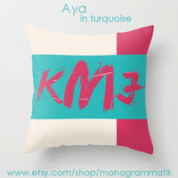 "Monogram Personalized Custom Pillow Cover 16"" x 16"" Hot Pink Turquoise Neon White Mustard Ochre Unique Gift for Her Him Couch Bedroom Room"