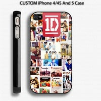 ONE DIRECTION 1D Logo Photo Collage Custom IPhone 4 / 4S and also available for iphone 5 Case Apple Phone Cover Plastic
