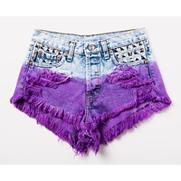 Purple Dip Hand Dyed Studded Vintage Shorts